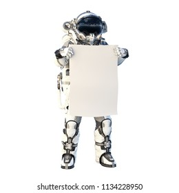 Astronaut on white. Mixed media
