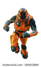 astronaut in orange exo suit exploring around 3d illustration