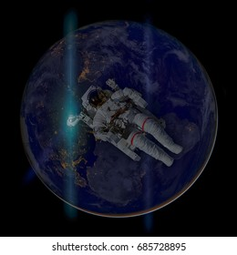 Astronaut in outer space. Earth on the background. Elements of this image furnished by NASA.