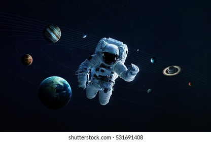 Astronaut in outer space modern art. Elements of this image furnished by NASA
