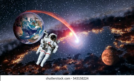 Astronaut planet Earth Mars spaceman launch outer space galaxy universe. Elements of this image furnished by NASA.