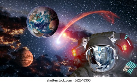 Astronaut planet Earth Mars spaceman invasion space martian alien et extraterrestrial. Elements of this image furnished by NASA.
