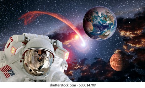 Astronaut planet Earth Mars spaceman shooting star helmet space suit galaxy universe. Elements of this image furnished by NASA.