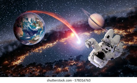 Astronaut planet Earth Saturn spaceman launch outer space galaxy universe. Elements of this image furnished by NASA.