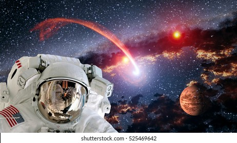 Astronaut planet Mars spaceman helmet comet space suit galaxy universe. Elements of this image furnished by NASA.
