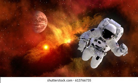 Astronaut planet Mars spaceman suit outer space gravity galaxy floating universe explosion. Elements of this image furnished by NASA.