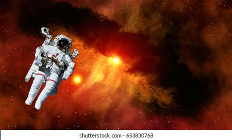 Astronaut planet spaceman cosmonaut suit outer space gravity galaxy floating universe explosion. Elements of this image furnished by NASA.