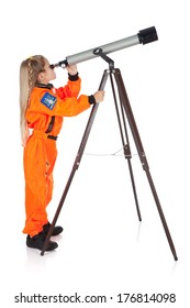 Astronaut: Side View of Girl Scientist Looking Through Telescope