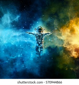 Astronaut in space / 3D illustration of astronaut floating in space between glowing galaxies