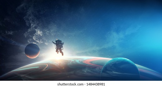 Astronaut in space costume in outer space. Spacewalk