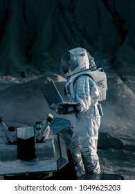 Astronaut in the Space Suit Works on Laptop, Adjusting Rover on a New Alien Planet. Day Light High-Tech Space Exploration Concept. Manned Mission Searching and Discovering New Habitable Planets.
