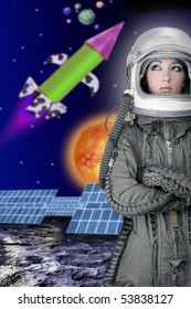 astronaut spaceship aircraft helmet fashion woman space planets rocket [Photo Illustration]