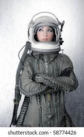 astronaut spaceship aircraft helmet fashion woman silver background