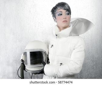 astronaut spaceship driver aircraft helmet fashion woman over silver