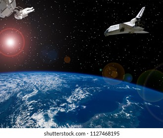 Astronaut and spaceships. Lens flare. The elements of this image furnished by NASA.