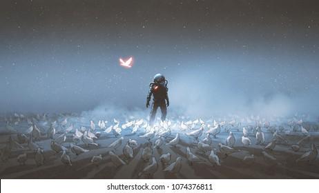 astronaut standing among flock of bird, single glowing unique bird flying around, digital art style, illustration painting