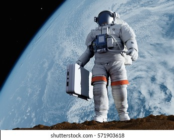 Astronaut with a suitcase walking on the planet.,3d render