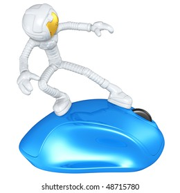 Astronaut Surfing On Computer Mouse
