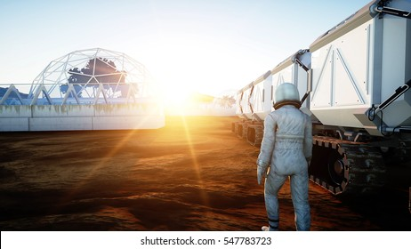 Astronaut walk on alien planet. Martian on mars. Sci -fi concept. 3d rendering.