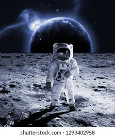 astronaut walk on the moon wear cosmosuit. future concept