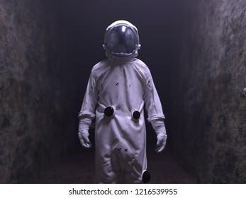 astronaut walking in the dark tunnel