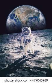 Astronaut walking on moon with earth in background. Elements of this image furnished by NASA