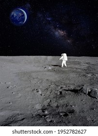 An astronaut walking on the surface of the moon with earth on the background. Elements of this image furnished by NASA.