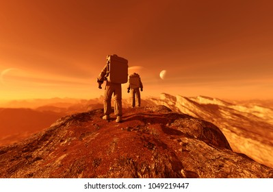 astronauts enter into derelict planet or doing some exploration on a new planet he discover,3d rendering of sci-fi concept
