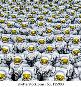 Astronauts group shot / 3D illustration of rows of astronauts with one of them waving