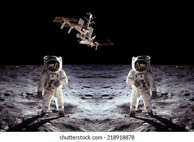 Astronauts spaceman Moon space spaceship. Elements of this image furnished by NASA.