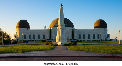 Astronomers Monument in front of Griffith Observatory in Griffith Park, Los Angeles, California, USA