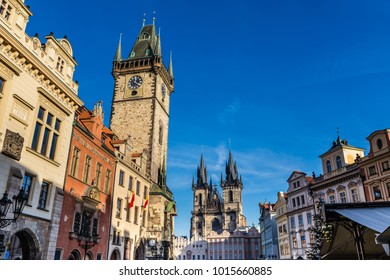 Astronomical Clock And Church Of Our Lady Before Tyn - Old Town Square, Prague, Czech Republic, Europe