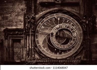 Astronomical clock closeup in Old Town Square in Prague Czech Republic