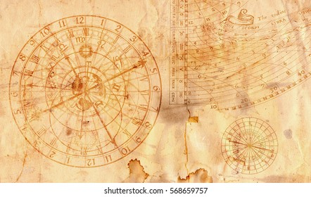 Astronomical clock in grunge style useful as a background - 16:9 ratio