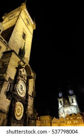 The Astronomical Clock at night. It's the famous tourist attraction of Prague, Czech Republic.