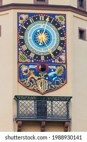Astronomical clock on the west side of the tower of the Museum of City History in the Old Town Hall and the Market Place (Altes Rathaus, Markt) in Leipzig, Saxony, Germany - Shutterstock ID 1988930141