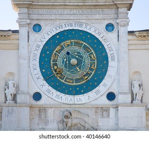 astronomical clock in Padua; earliest of its kind; Libra sign missing from zodiac