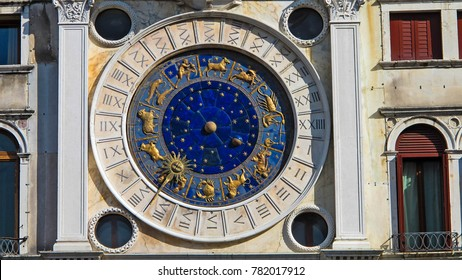 Astronomical clock of clock tower in St. Marco Square, Venice, Italy