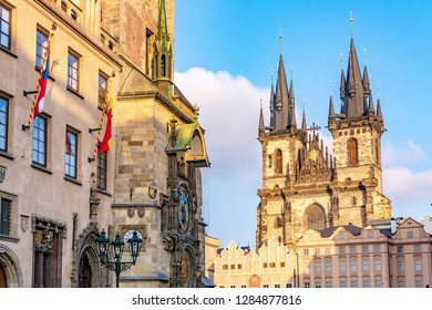 Astronomical Clock Tower and Tyn Church in Old Town of Prague, Czech Republic
