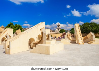 Astronomical instruments at Jantar Mantar observatory, Jaipur, India