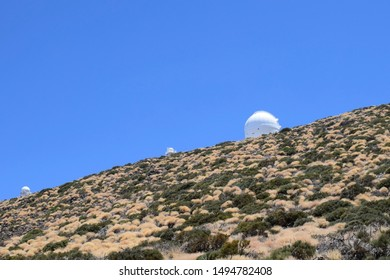 Astronomical Observatory, Canary Islands. White observatory in the desert
