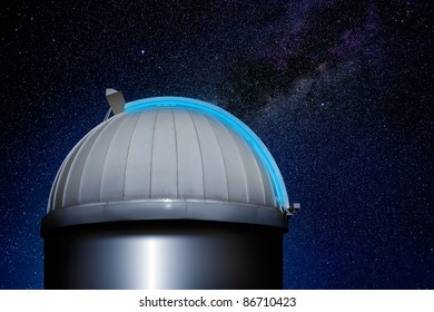 astronomical observatory dome in stars sky night [Photo Illustration]