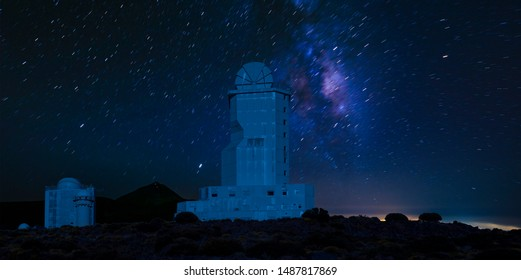 astronomical observatory in the night sky