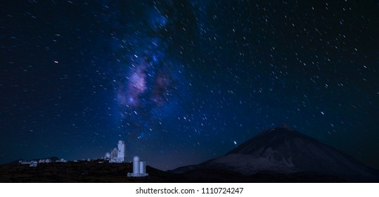 astronomical observatory under the dome of the starry sky