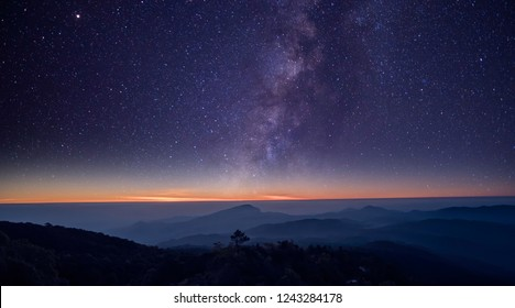 Astronomical photos of stars and the Milky Way in night sky