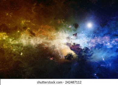 Astronomical scientific background, nebula and stars in deep space, glowing mysterious universe. Elements of this image furnished by NASA nasa.gov
