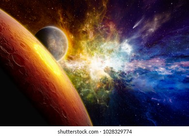 Astronomical scientific background - two aliens planets in deep space, glowing mysterious galaxy, comet in space. Elements of this image furnished by NASA