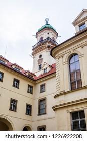 Astronomical tower, inner courtyard, Klementinum, Clementinum, Jesuit monastery complex, old town, Prague, Czech Republic