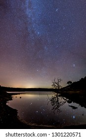Astrophotography by a lake with tree reflected