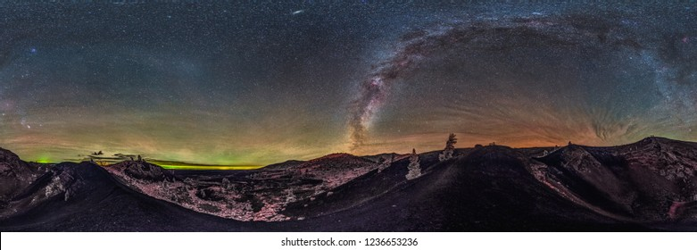 Astrophotography Milky Way Galaxy 360 Degree Panorama in Craters of the Moon State Park in Idaho